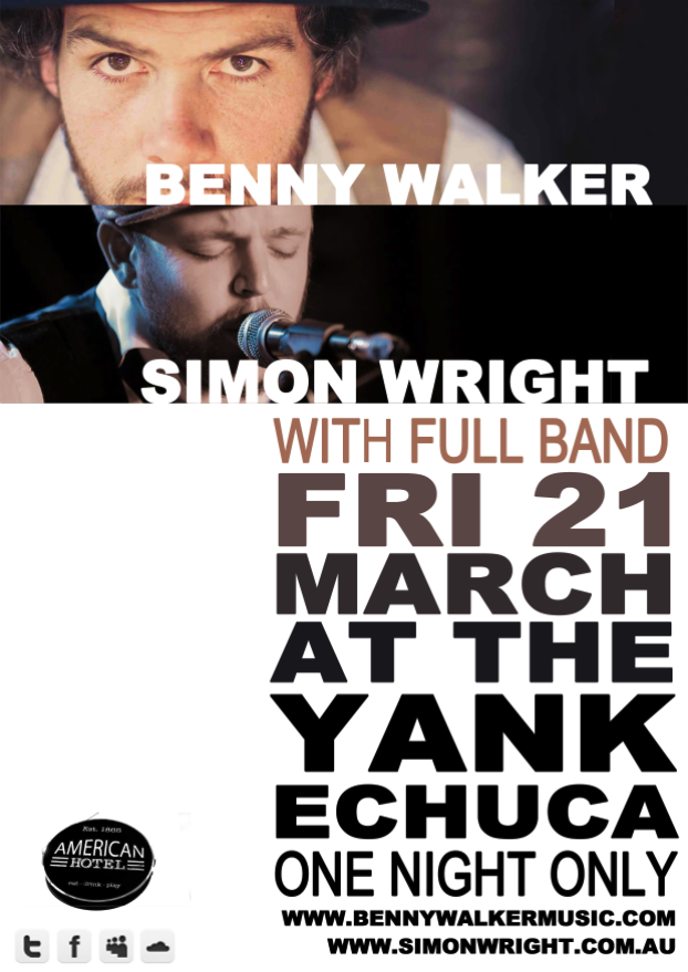 The Simon Wright Band play Echuca with special guest Benny Walker